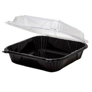 1-Compartment Plastic Hinged Black & Clear