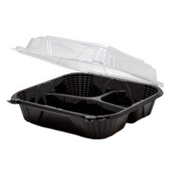 3-Compartment Plastic Hinged Black & Clear