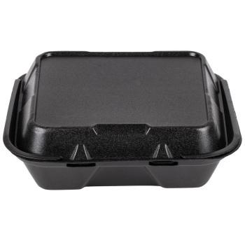 "3-Compartment Foam Container Black 9""x9""x3"""
