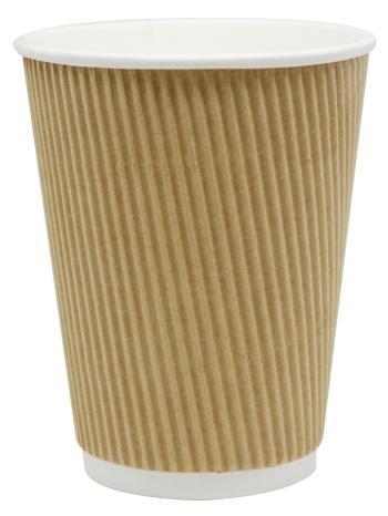 12oz Kraft Ripple Paper Hot Cup