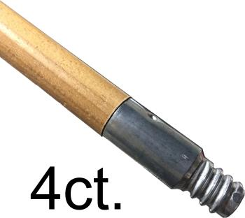 """(4) Broom Handles With Metal Threads 60"""""""