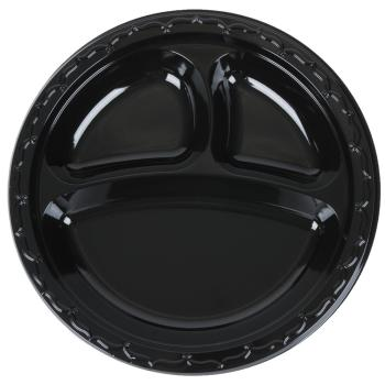 "3-Compartment 10.25"" Plastic Plate Black"