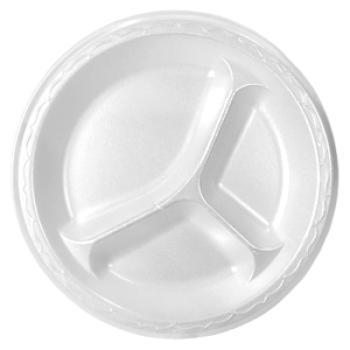 "3-Compartment 9"" Styrofoam Plate White"