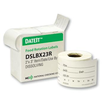 "DateIt Dissolvable Shelf Life Sticker Roll 2""x3"""