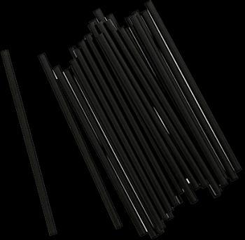 "5.75"" Black Unwrapped Jumbo Straw"