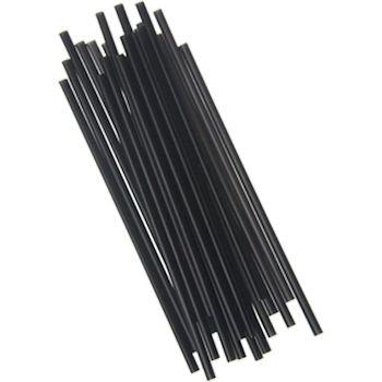 "7.75"" Black Unwrapped Jumbo Straw"